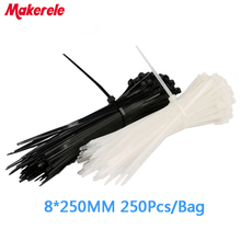5.2*250mm Self-Locking Nylon Cable Ties Cable Zip Tie Loop Ties For Wires Tidy 250PCS/Bag white and black for choose