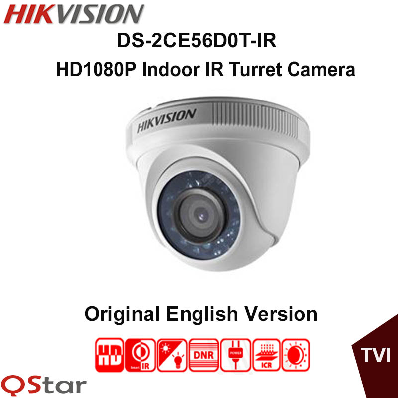 Hikvision Original English Analog TVI Camera DS-2CE56D0T-IR HD1080P IR Indoor Turret Camera 2MP Up the Coax CCTV Camera hikvision ds 2ce16c0t ir 3 6mm original bullet camera outdoor analog camera ir tvi 720p 1mp