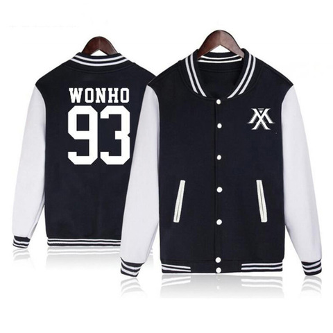 Vsenfo Kpop Monsta X Hoodie Women Men Casual Fleece Autumn Winter Baseball Jacket Tracksuit Womens Hoodies Long Sleeve Black Lahore