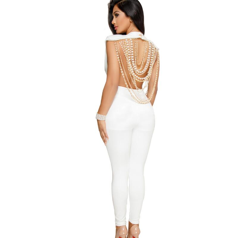 4fd85775e095 2018 4 COLORS Women fashion Sexy casual backless Pearl necklace Jumpsuits  casual nightclub party Jumpsuits Rompers CM140-in Jumpsuits from Women s  Clothing ...