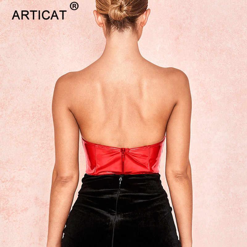 Articat с открытыми плечами из искусственной кожи сексуальные боди женск