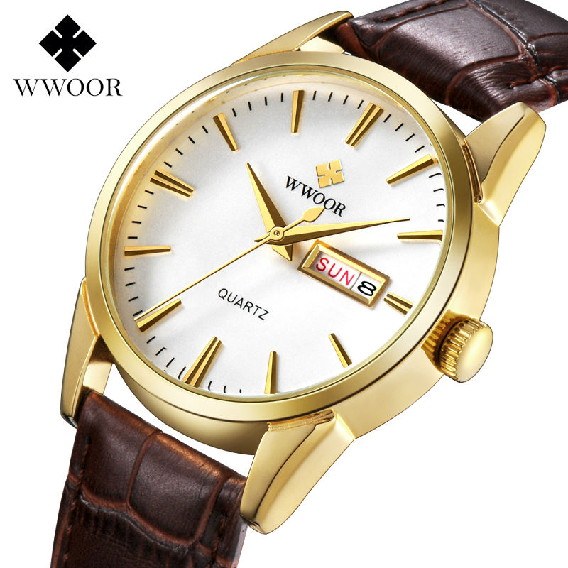 WWOOR Men's Watch 2017 Leather Strap Male Date Clock Men Casual Quartz Watch Men Wrist Sport Watch Fashion Relogio Masculino wwoor waterproof ultra thin date clock male stainess steel strap casual quartz watch men wrist sport watch 3 colors