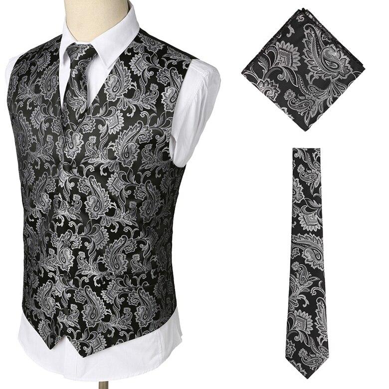 Мужские Классические Вечерние жаккардовые жилеты в клетку с узором пейсли и цветочным принтом, 3 предмета в комплекте(жилет с квадратным карманом и галстуком - Цвет: Black
