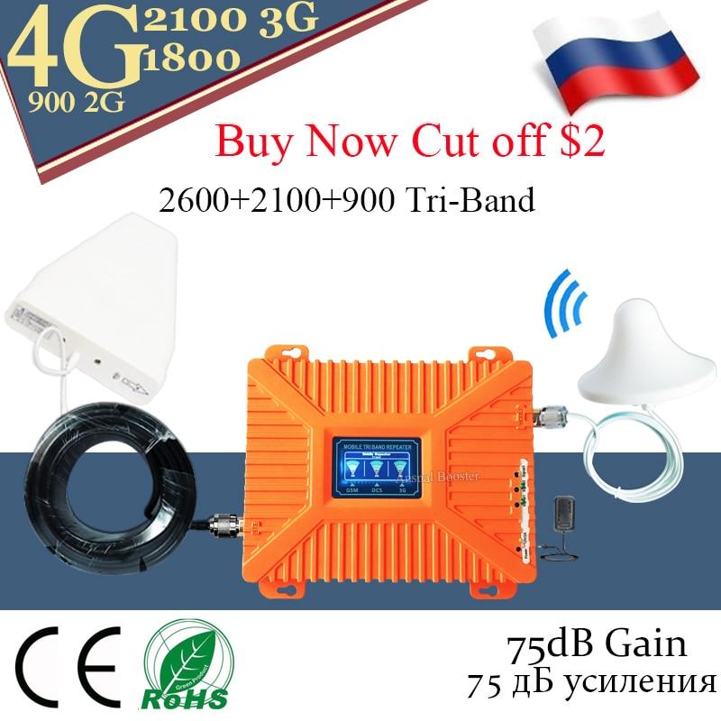 Puissant! Amplificateur 4g 900/1800/2100 DCS WCDMA LTE GSM 2G 3G 4G amplificateur de Signal Mobile à trois bandes amplificateur cellulaire GSM répéteur 4g