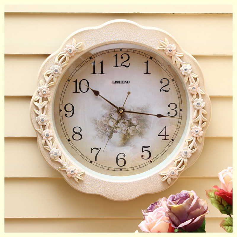 Lisheng round wall clock modern mute watch large wall for Modern living room clocks