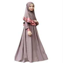 Two Sets Traditional Flowers Kids Clothing Fashion Child Abaya Muslim Girl Dress Jilbab and Abaya Islamic Children Hijab Dresses