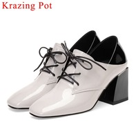 2019 natural leather high thick heels lace up shallow pumps high fashion large size lace up british style square toe shoes L12