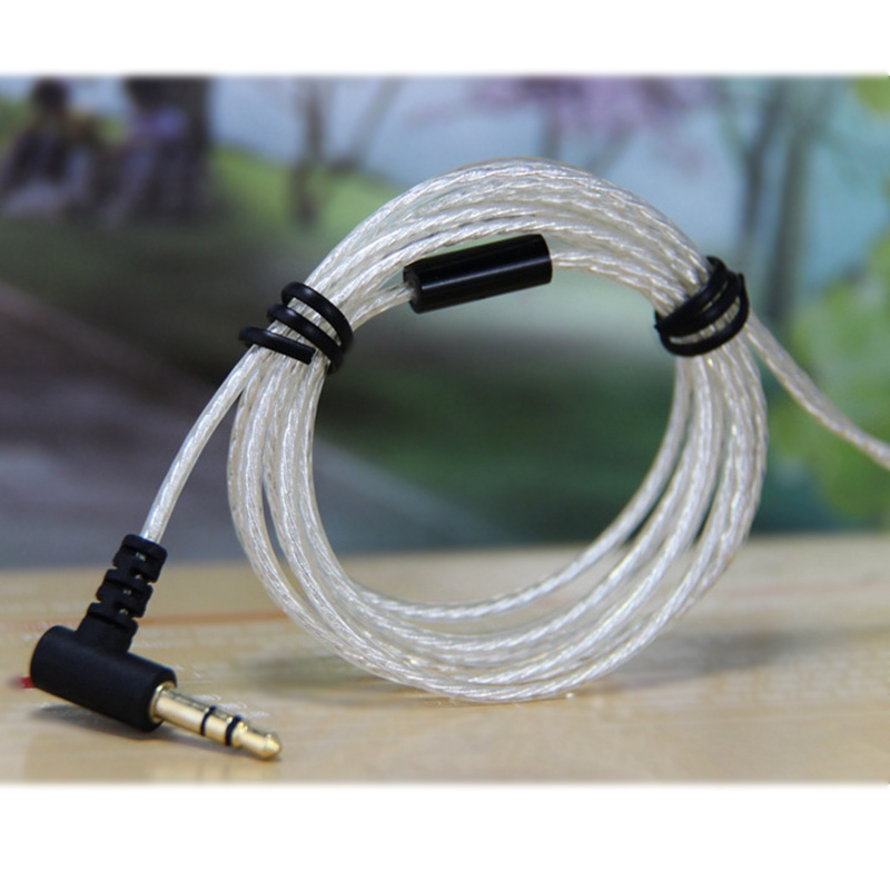 3.5mm 3-Pole Bending Jack DIY <font><b>5N</b></font> <font><b>OFC</b></font> Wire Core Silver-Plated HiFi Earphone Cable Repair Replacement for Headphone image