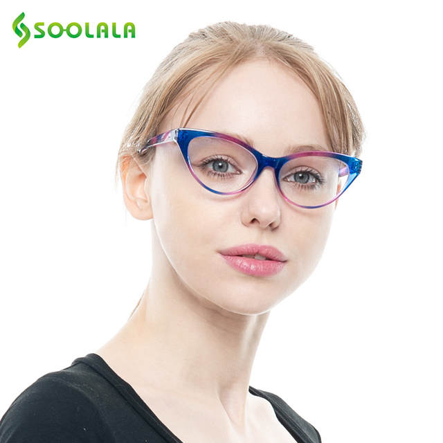 9992704dd0 Online Shop SOOLALA Ladies Brand Designer Cat Eye Reading Glasses Women  Customized Strengths Full Frame Eyeglasses +1 +1.5 +2 +2.5 +3 +3.5