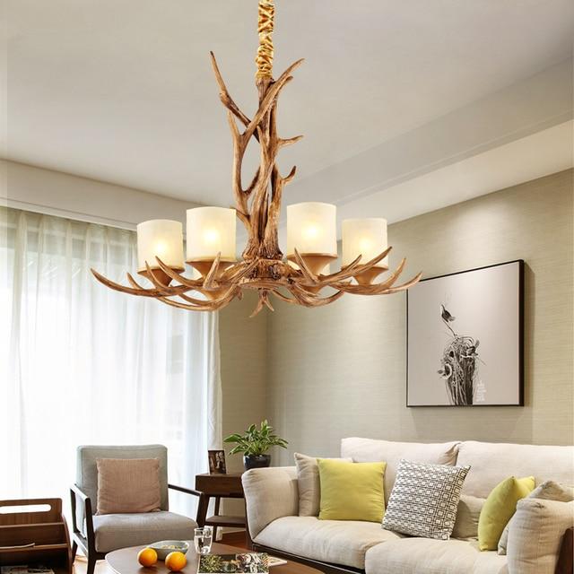 Europäischen Stil Kronleuchter Wohnzimmer Lichter 6 Kopf Kerze Geweih  Amerikanischen Retro Harz Hirsch Kreative Kronleuchter