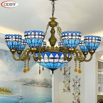 Moderno Azul Mediterráneo 68 cabezas comedor dormitorio candelabro de cristal de vidrio restaurante lámparas colgantes
