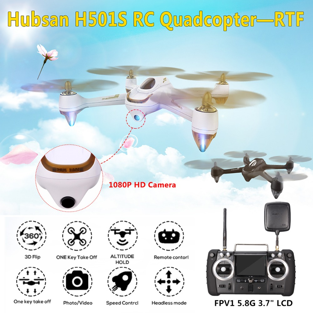 Hubsan H501S X4 5.8G FPV Brushless Motor  With 1080P HD Camera Built-in GPS 2.4G 4CH 6 Axle Gyro Transmitter RC Quadcopter RTF hubsan x4 h107d rc drone dron 5 8g real time fpv fly helicopter 4ch 6 axis gyro quadcopter with hd camera built in gyro drones