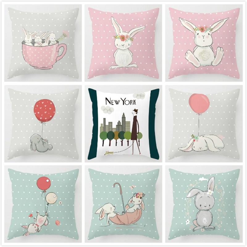 Cushion Cover Kids Room Decor Cute Pink