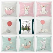 цена на Nordic Cushion Cover Kids Room Decor Cute Pink Rabbit Bunny Cartoon Animal Throw Pillow Case 45x45cm Decorative Cushion Case