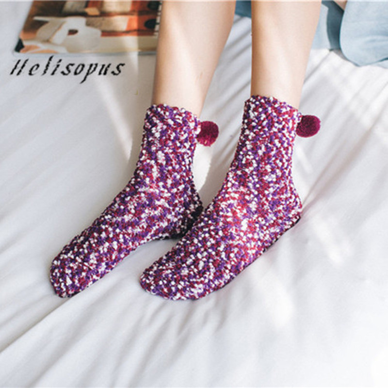 Helisopus Autumn and Winter New Coral Fleece Cake   Socks   9 Colors Kawaii Thickened Fluffy Warm Home Floor   Socks   Sleep   Socks