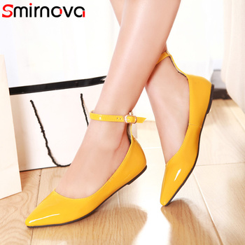 Smirnova 2019 fashion spring autumn flat shoes woman pointed toe buckle casual patent leather women flats red