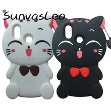 For Xiaomi Mi 8 3D Cute Cartoon Animal Lucky Cat Soft Silicone Cell Phone Back Cover Skin Shell Fitted Case Anti-knock