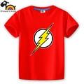 Cotton short sleeve children t shirts comics game boys girls t shirt kids wear red lothes marvel flash man logo showerli