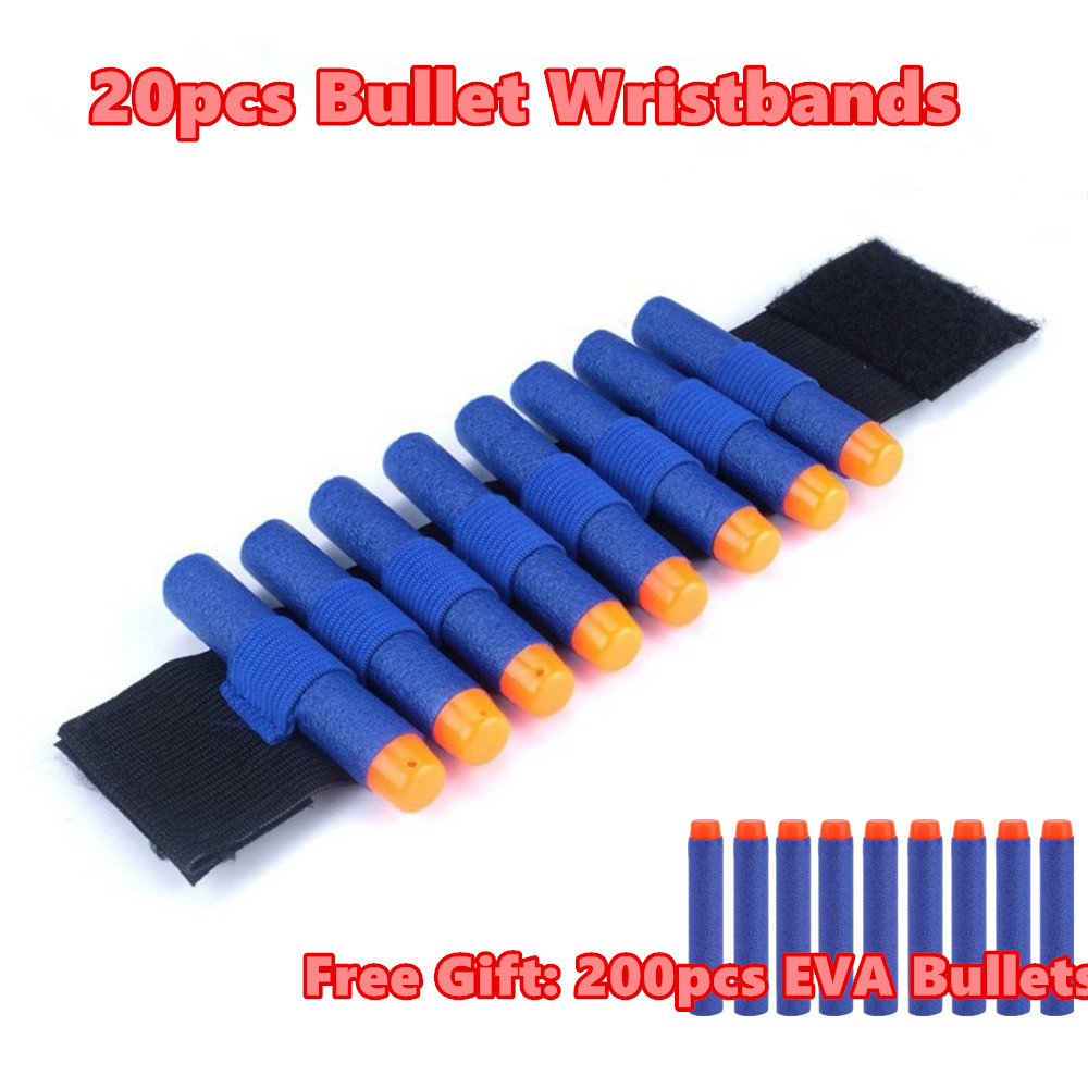 EVA Bullets Wristband Safety ElasticWrist Strap Soft Darts Ammo Storage Bullets For Nerf Gun Access Wrist Belt Free Gift 1~20pc