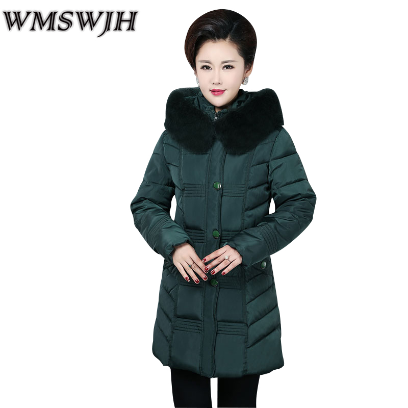 Middle-aged Women Cotton Padded Large Fur Collar Hooded Coat Parkas Women Winter Jackets Thickening Wadded Coat Female Jacket 2017 women winter hooded winter coat with fur collar pockets female short jackets cotton padded parkas wadded snow wear yl002