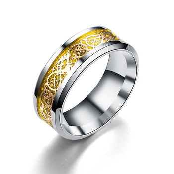 Blue Black Silvering Irish Dragon Titanium Carbide Ring Wedding Bands 4