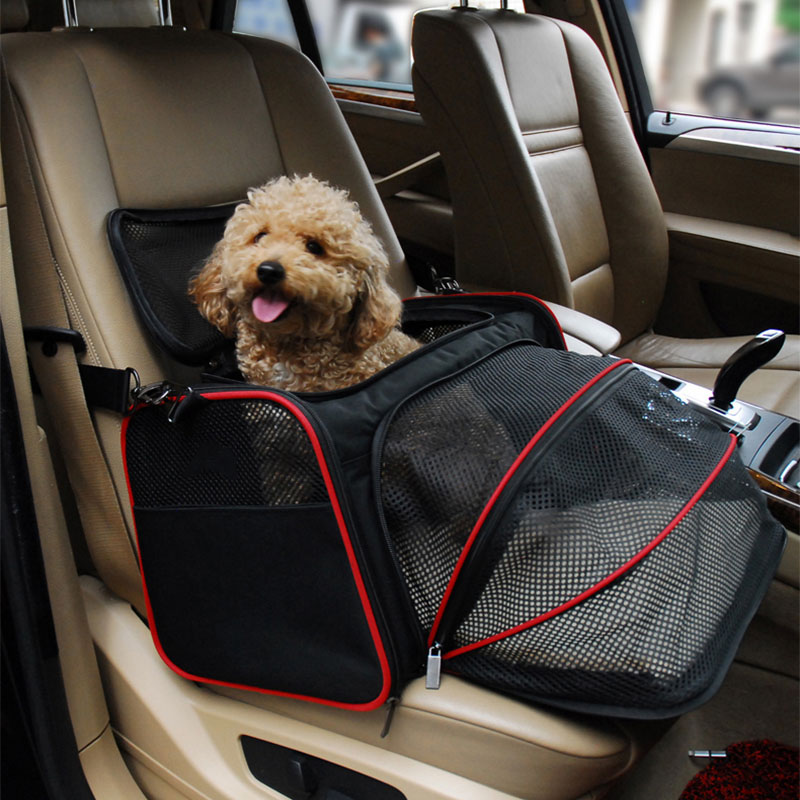 Outdoor Sport Expandable Pet Dog Carrier Car Travel Bag Oxford Breathable Cat Carrier Portable Car Travel Accessories M L