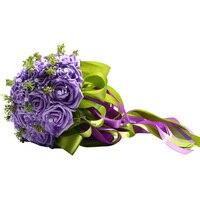 Handmade Pastorale Artificiali Fiori Finti Bouquet di Simulazione Roses Perle Nuziale della Holding Toss Bouquet per la Cerimonia Nuziale Favorisce (Viola)