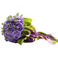 Pastoral hecha a mano falso artificial flores bouquet simulación rosas perlas nupcial celebración Toss ramo para la boda favores (púrpura)