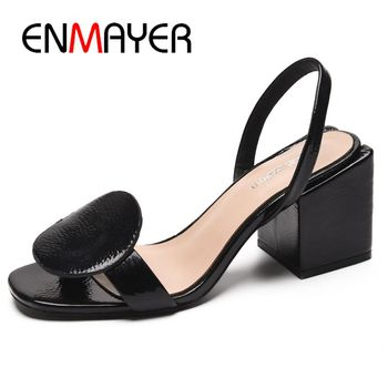 ENMAYER   Genuine Leather  Basic  Shoes Woman 2 Colors Women Summer Fashion Mid High Sandals Size 34-39 LY1420