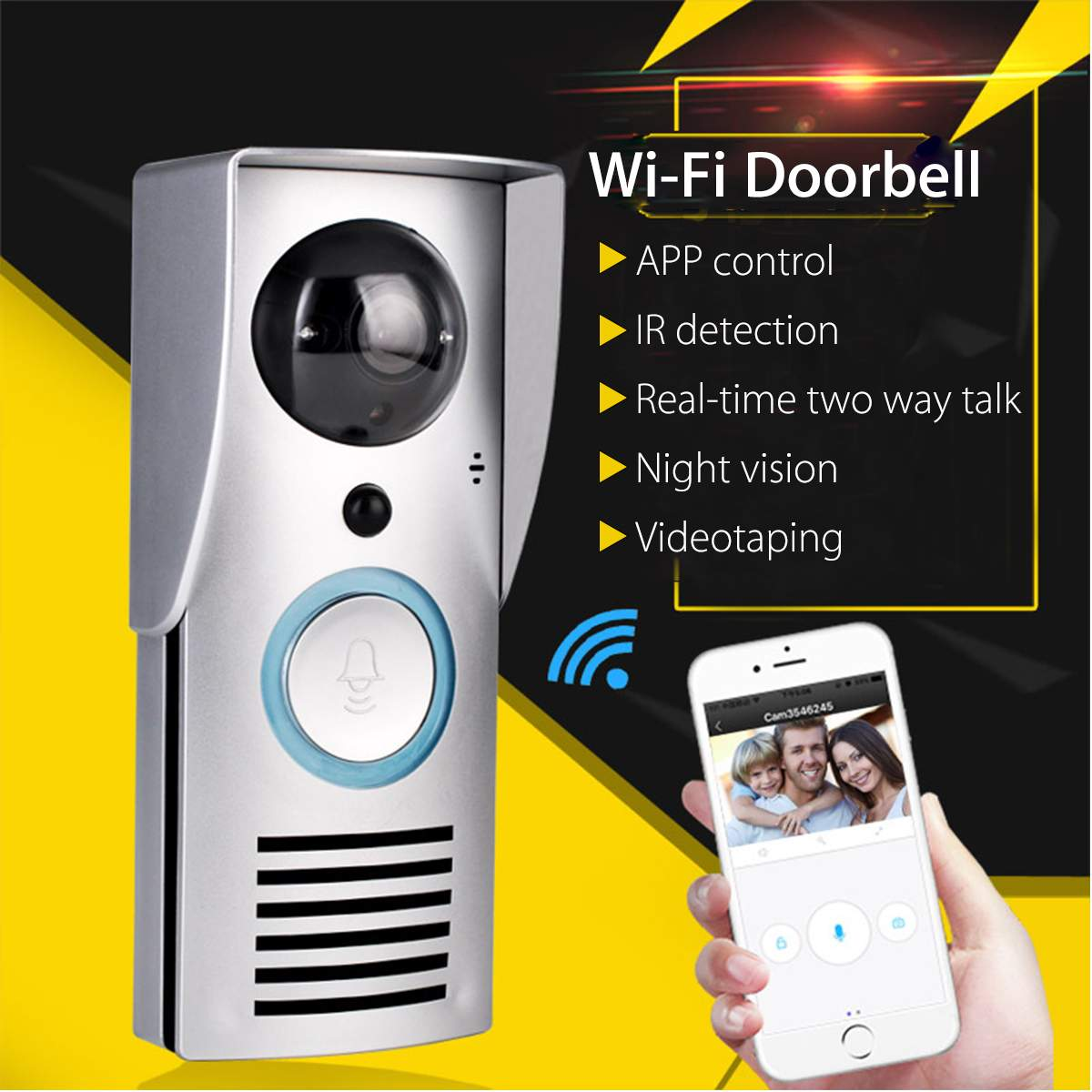 Smart WiFi Wireless Video Doorbell 720P Visual Call Intercom Camera IR Night Vision APP Control Home Security Monitoring image