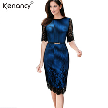 Kenancy 2XL 2018 Belted Sexy Striped Floral Lace Dress Women Party Half Sleeve Knee-Length Vestidos Contrast Color Recommend