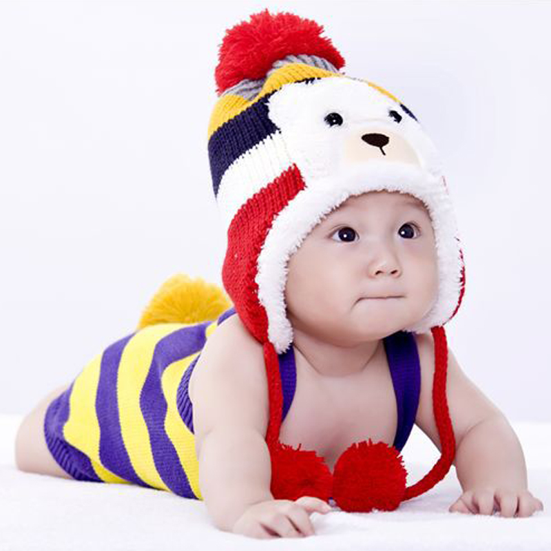 Hot Colorful Crochet New Born Baby Hat Stripe Pattern Cartoon Bear Design Thicken Kids Winter Caps