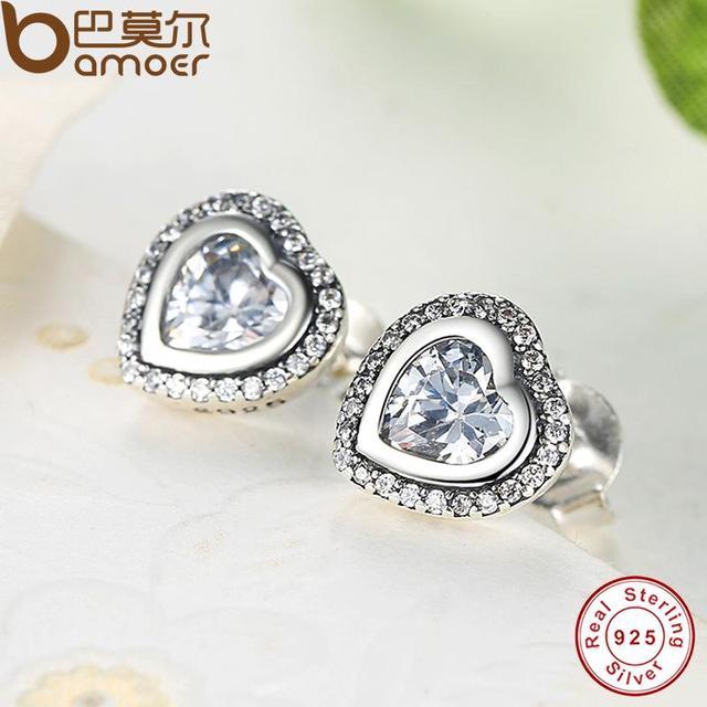 Sterling Silver Love Heart Shape Stud Earrings