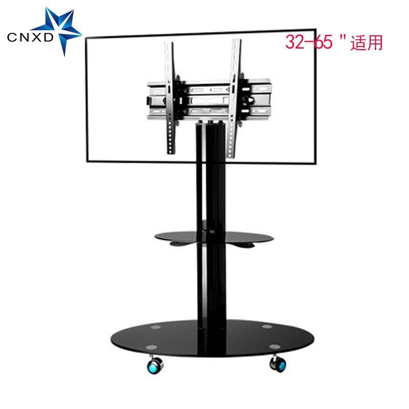 Mobile TV Stand Support de Plancher TV Chariots avec Tablette Réglable et Écran Plat Montage Adapte 32 à 65 moniteurs