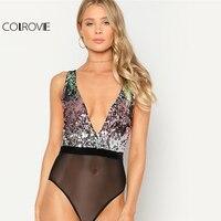 COLROVIE 2018 Spring Deep V Neck Sequin Bodysuit Sexy Patchwork V Back Backless Plunging Rompers Women