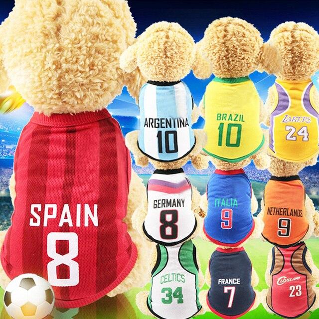 Ropa de perro para perros pequeños medianos grandes deportes perro chaleco camiseta gato ropa para mascotas verano algodón sudadera fútbol Jersey XS-6XL