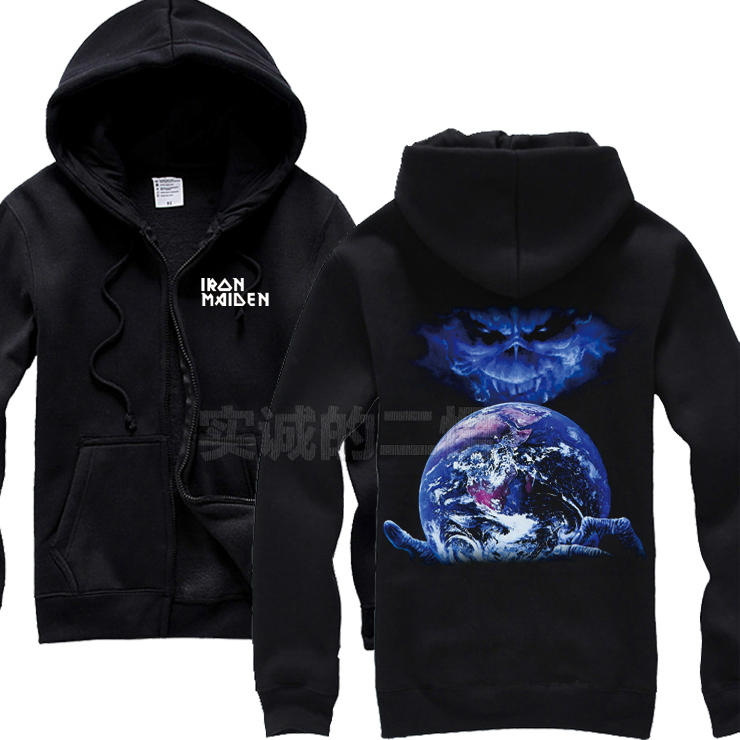 Cool Alienware Iron Maiden Band Cotton Rock Hoodies jacket high quality punk sweatshirt zipper fleece heavy metal XXXL