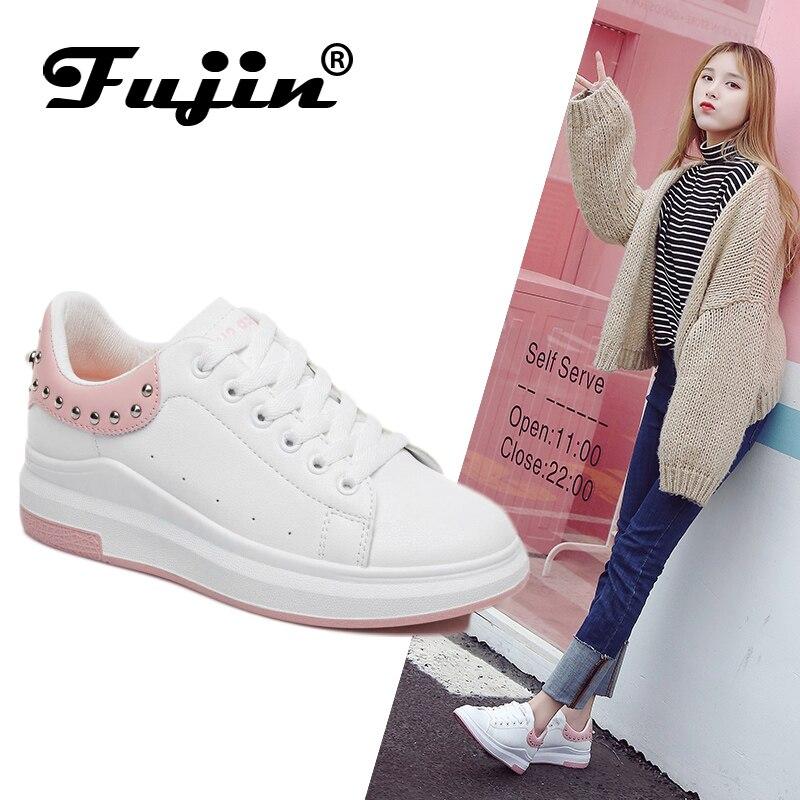 Fujin Brand Women Rhinestone 2019 Sneakers Spring Autumn Pu Leather