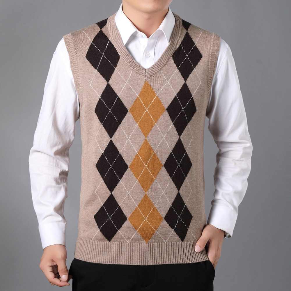 Gris Casual Hommes Gilets Tricoté Gilet Gray Vest Jacquard Knitted Weskit Homme Laine Mans Chameau Vest En Tricots Cachemire Chevrons Argyle camel OO8rqw4
