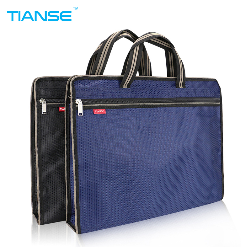 TIANSE A4 Commercial Business Document Bag Tote file folder Filing Meeting Bags Pocket office bags Side Zipper protable canvas