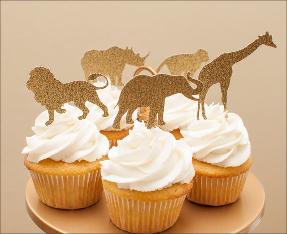 Golden Safari Cupcake Toppers In Gold Jungle Baby Shower Decorations