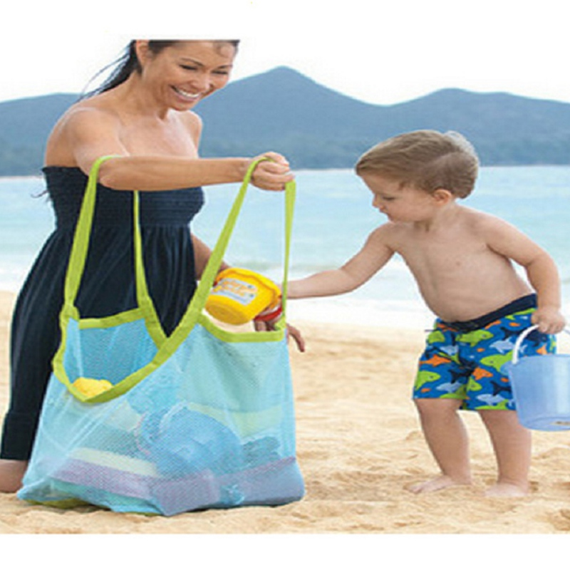 Baby Folding Beach Net Large Capacity Sports Bag Sand Beach Toys Portable Swimming Storage Bag