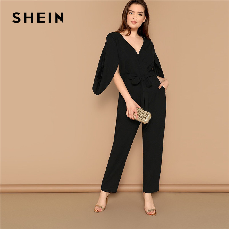 SHEIN Plus Size Women Black V Neck Cape Sleeve Tailored High Street   Jumpsuit   Office Lady Cutout Sleeve Belted Solid   Jumpsuits