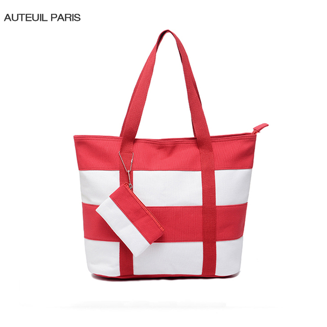 AUTEUIL PARIS Girl Striped Bag Women Casual Totes Large Capacity Shoulder Bags Ladies Handbag High Quality Zipper Handbags