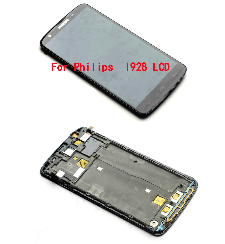 100% Brand New For Black Philips I928 LCD Display + Touch Screen Digitizer Glass Assembly With Frame