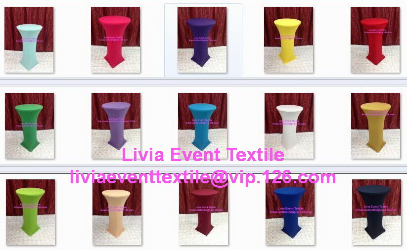 15pcs Extra Larger White Spandex High Cocktail Table Cover,Lycra Cocktail Dry Bar Table  ...