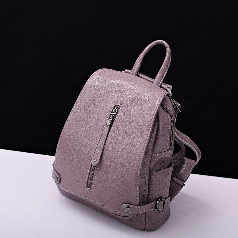 Purple Black Dark Blue Female 100 Genuine Leather Real Cowhide Women Backpacks School Bags Ladies Designer
