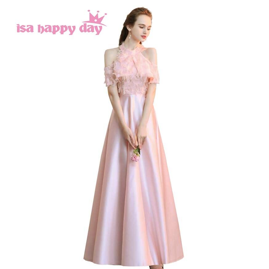 Femmes long formel sexy pas cher rose élégant fête temps formals dames licou robe de bal femmes robes de moins de 50 2019 H4179