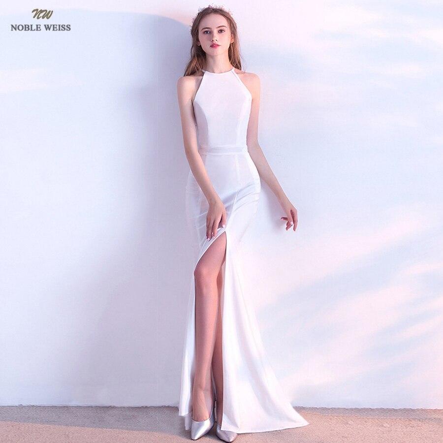 prom     dresses   2019 halter   prom     dress   sexy split vestidos de gala zipper back mermaid floor-length   prom   gown