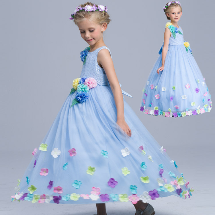 ФОТО 2017 New Baby Kids High-Grade Flower Princess Girl Long Dresses For Party Wedding Performance Costume Cosplay 3-10Y